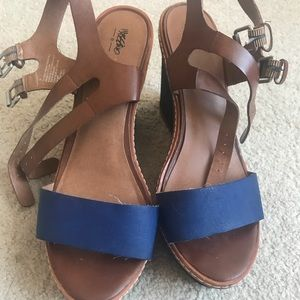 Shoes - Blue & Brown Mossimo Wedges